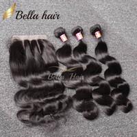 achat en gros de extensions de cheveux humains tisse-7A Packs de cheveux brésiliens avec fermeture 8-30 Double trame Extensions de cheveux humains Cheveux teinté tissés Fermeture Body Wave ondulé Livraison gratuite