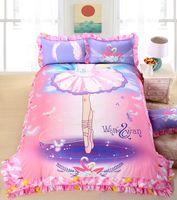 ballet duvet - 4 Queen Twin Size Kids Girls Bedding set Princess Ballet Bedskirt Design Duvet cover Bed sheet Cotton