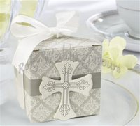 baby holder wrap - 50PCS Cross Candy Boxes Christening Baby Shower Wedding Party Bomboniere Wrap Holders with Ribbons Wedding Favors Party Supplies Gifts