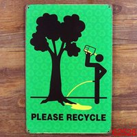 Wholesale PLEASE RECYCLE Tin Sign Bar pub home Wall Decor Retro Metal Art Poster