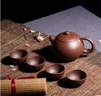 Wholesale Yixing quality goods are recommended xi shi set small five group travel set of purple clay teapot tea tea sets