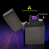 arc voltage - Male gift Arc Lighters metal USB Rechargeable Flameless Electric Arc Windproof Cigar Cigarette Lighter