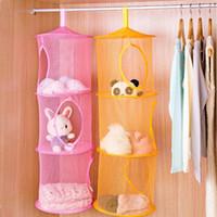 bedroom stuff - 3 Shelf Layer Hanging Storage Basket Bags Net Kids Toy STuffed Plush Organizer Bag Bedroom Wall Door Closet