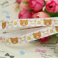 Wholesale 3 quot mm Cartoon Rilakkuma Cute Bears Printed Grosgrain Ribbon Bows Diy Materials Craft Decos Sewing Yards A2