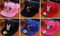 baseball cap images - 2016 autumn mesh breathable Mickey ears porch child baseball cap New style cartoon images girl boy leisure travel Duck tongue hat E372