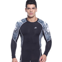 Wholesale Men s Compression Long Sleeve Shirts Quick drying Way Stretch Skin Rash Guard Gym Training Running Fitness Sports Tops