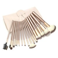 Wholesale Clearance Ovonni Pony Hair Luxury Gold Makeup Brush Set With Pink Pouch Bag High Quality Foundation Make Up Fan Brush