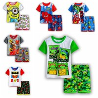 sport clothing wholesale - 54 Styles Baby Boys Cartoon Clothing Set Spiderman Batman Spiderman Summer Causal Kids Clothes Boys Sport Suit Children Clothing Set