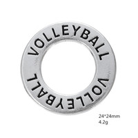 affirmation necklace - Myshape Antique silver plated Affirmation charms Engravesd Letter VOLLEYBALL circle charms sports jewelry for bracelet necklaces
