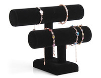 achat en gros de barres autoportantes-Bracelet élastique Balck 2 couches en velours bijoux Bracelet Montre Montre Support Angle Support T-bar Multi-style Optionnel Livraison gratuite