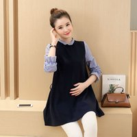 Wholesale maternity clothes Maternity Tops autumn and winter fake two Korean version of pregnant women dress long section dresses