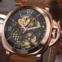 Prezzi Orologi jaragar-in pelle da uomo caldo guardare numero d'oro mens impermeabile meccanico automatico della data automatica orologi di lusso sportiva JARAGAR