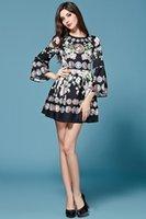 bell designer - High Quality New Designer Runway Summer Dress Women s Flare sleeves Print Dress