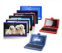 7 pulgadas de AllWinner A33 Q88 Quad Core Android 4.4 tabletas de 4 GB / 512 Dual phablet cámara con PC de la tableta caja del teclado del USB del envío libre 002609