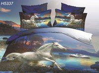 beige duvet covers - Digital HD D animal bedding set white horse printed bed linens duvet cover bed sheet pillowcase bed set hot sale H5337