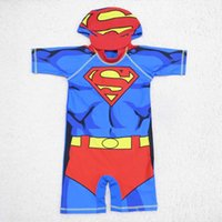 beachwear for kids - Superman Swim Suits Boys Cap For Swimming Child Sets Beachwear Kids Swimwear Boy Kids Bathing Suits Children Swimwear Lovekiss C23869