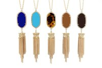 acrylic stone necklace - Chandelier Tassels Pendant Necklace Geometric Kendra Stone Necklaces Various Colors Gold Silver Plated Hot Popular for Lady