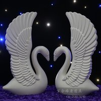 article base - 201 Novelty Double sided plastic swans solid background adornment check in area furnishing articles with base Pillars