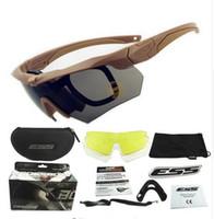 al por mayor gafas ess-TR-90-gafas de alta calidad ESS Crossbow gafas militares, 3lens vasos Tactial Ejército a prueba de balas con su funda original, gafas de tiro