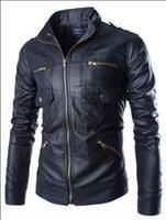 Wholesale new arrive Korea men s jacket Multi zipper motorcycle pu leather jacket stand collar men s coats black