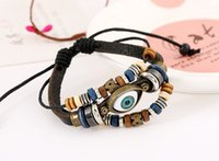 Wholesale 2016 fashion reactionary and beatiful leather bracelet Retro beaded eyes Both men and women for special gifts