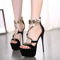 adhesive plate - 16cm Rome style metal plate super high heel platform shoes ladies party club dance shoes size to