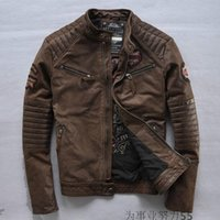 Wholesale American street Affliction motorcycle leather jackets stand collar men Vintage Indian skull leather jacket
