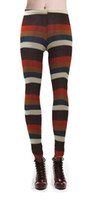 ankle skinny colored - New Arrival Print Ladies Leggings Fashion Good Quality Women Mid Waist Sexy Colored Striped Leggings Ankle Length wl074