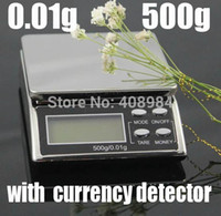 Wholesale by dhl fedex g g Pocket Scale Weighing Scales LCD Display Electronic Balance with currency detector