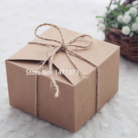 Wholesale 50pcs Rustic Wedding Favors Candy Boxes packaging Snak Bags Small Kraft Gift Box kraft paper cake box Birthday Party Supplies
