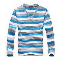 Wholesale OTWT New arrival men s long sleeved cotton stripes sweater fashion and hot pullover men brand new of