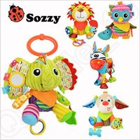 baby bedding dogs - Sozzy Baby toys Multifunction Plush Doll Children Cartoon Monkey Elephant Lion Owl Dog toys bed hanging LJJO369