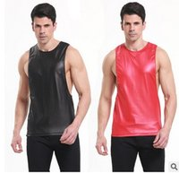 achat en gros de veste faux cuir pour homme-New Fashion men Tank Tops Veste en cuir Faux veste en mousseline de soie sexy Athletic Slim Fitted gym shark Gilet Sport Sport Homme