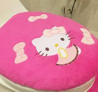 Wholesale Hot SALE Brand New Hello Kitty Toilet Seat Cover Cartoon Bathroom Lid Mat Set