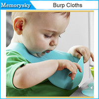 Wholesale 0 months Infant Baby Feeding Bib Washable TPE Silicone Bib Waterproof stereo pocket Cute Cartoon Patterns High Quality