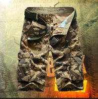 army camo cargo shorts - Summer Mens Baggy Camo Cargo Shorts Multipockets Baggy Loose Army Military Khaki Black Camouflage Short Pants For Men AY721 Size