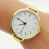 Wholesale Fashion gold colors metal alloy watch casual lady women mesh belts roma simply style dress quartz watches