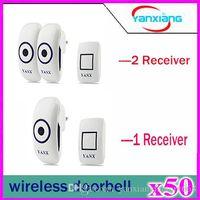 Wholesale 50pcs Wireless Doorbell Waterproof DC m remote control Door Bell Range for Home Office ringtones transmitter receive YX ML