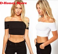 best basic t shirts - 2016 New Women Best Sell slash neck Sexy Crop Top Ladies Short Sleeve T Shirt Tee Short T shirt Basic Stretch T shirts
