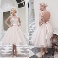 Wholesale Romantic Sexy Garden Back Ball Gown Wedding Dresses Long Sleeve Tea Length Organza Lace Applique Bridal Gowns