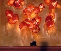 Chine usine-Rouge sortie de verre soufflé Wall Art décoratif Accueil CE UL Certificat en verre de Murano Art Plaques