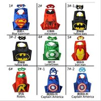 Wholesale 86 Style Halloween Costumes For Kids Superhero Capes And Mask Set cm Double Side Captain Cloak Batman Spiderman Star Wars Mermaid Capes