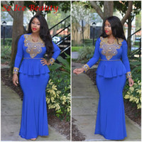african dress design - 2016 African Long Sleeve Evening Dresses Special Designed Neckline with Gold Beads Mermaid Puplum Skirt Royal Blue Chiffon Evening Gowns