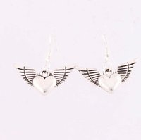 angels hooks - 25x27mm Silver Fish Hook Tibetan Silver Angel Wing Heart Shaped Pendant Charm Earrings E189 Fashion