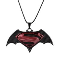 batman necklace charm - New Superheroes superman VS batman war necklace Batman Superman pendants movie jewelry for men