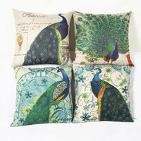 Wholesale 2016 New Peacock Cushion Cover Flax Pillowcase Vintage Linen Cotton Peacock Decor Pillow Cover for Home Sofa Decoration