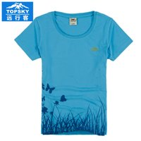 Wholesale Topsky quick drying breathable t shirts women blouse Round collar short sleeve Cotton T shirt