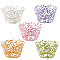 cupcake wrappers - 120pcs Laser Cut Branches Cupcake Wrapper Liners Bakeware Muffin Paper Cup Cake Wedding Gift Box Birthday Favor Baby Shower Kitchen Decor
