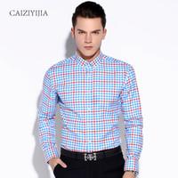 Wholesale Autumn Mens Long Sleeve Classic Collar Contrast Color Plaid Shirts Cotton Comfort Soft Slim fit Button down Shirt