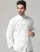 Wholesale White Classic Chinese Style Cotton Linen kung fu shirt Bruce lee wing chun tops t shirt Martial arts Wushu shirts